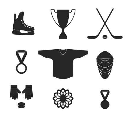 hockey stick: Ice Hockey. Icon set Illustration