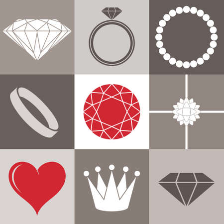 rings: Jewelry collection. Icon set Illustration