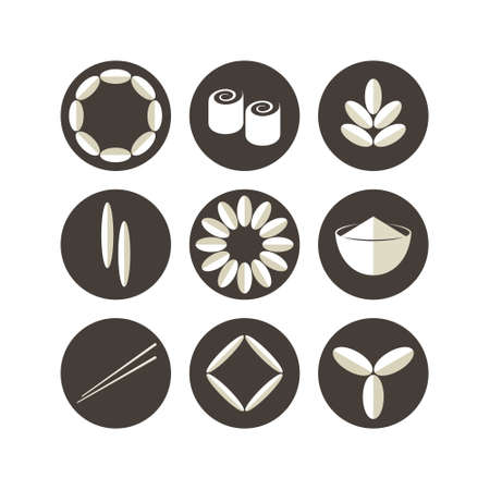 rice plant: Rice. Icon set