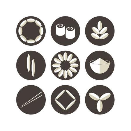 rice harvest: Rice. Icon set