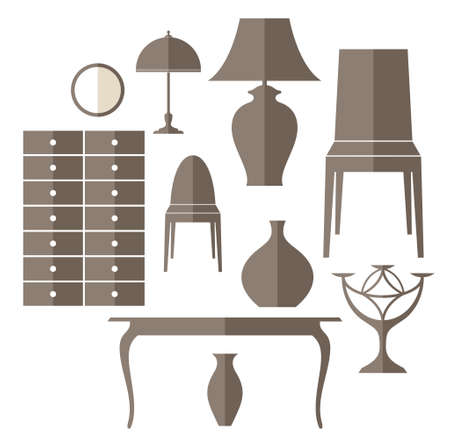 classic living room: Furniture. Icon set