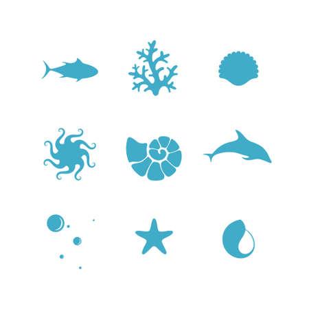 arrecife: Sea. Icono de conjunto