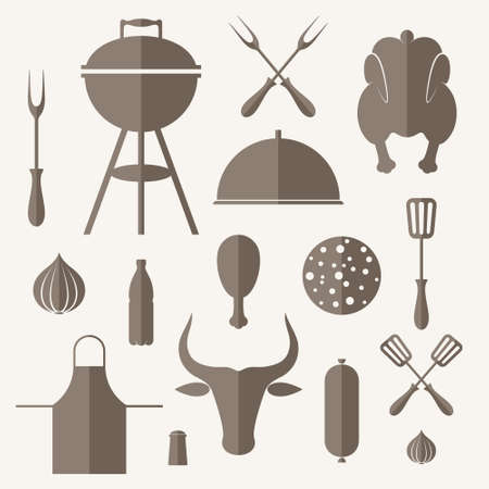 grill: Barbecue grill. Icon set