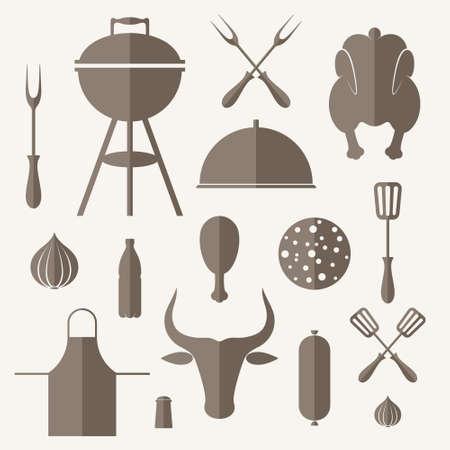 Barbecue grill. Icon set