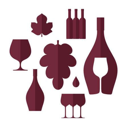 french culture: Wine. Set Illustration