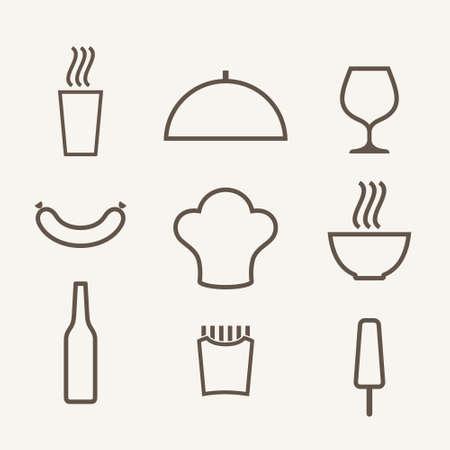 food icon set: Food. Icon set. Outline