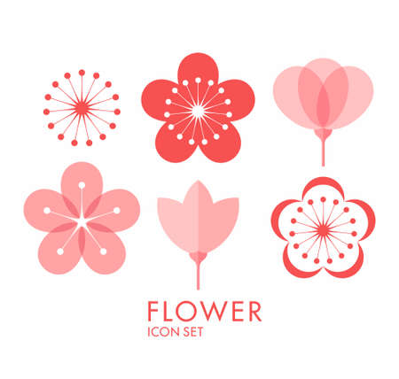 nature beauty: Flower. Icon set. Sakura
