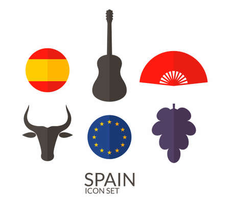 spanish bull: Spain. Icon set Illustration