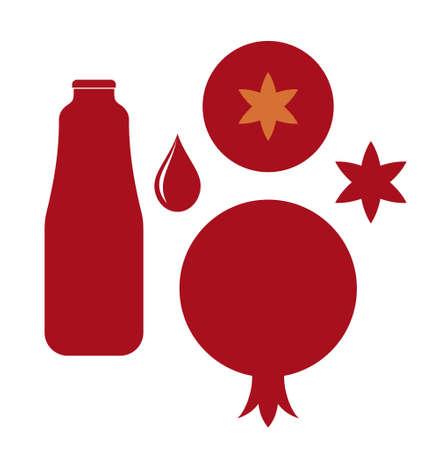 pomegranate juice: Pomegranate. Vector on white background