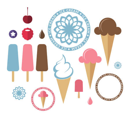 vanilla ice cream: Ice cream. Set Illustration
