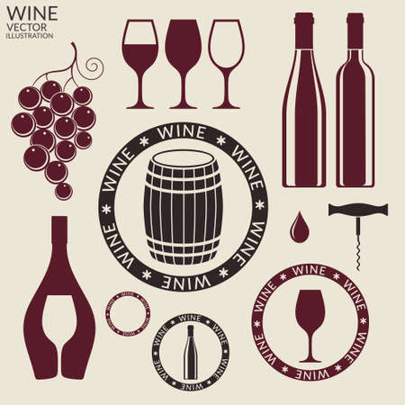 ワイン。セット  イラスト・ベクター素材