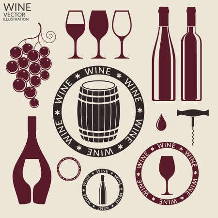 Wein. Einstellen Vektorgrafik