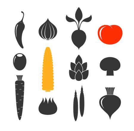 edible mushroom: Vegetable. Icon set
