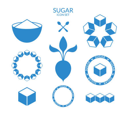 sugar cubes: Sugar. Icon set