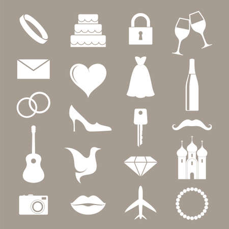 Wedding. Icon set Vector