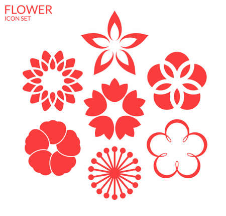lily flowers collection: Flower. Icon set