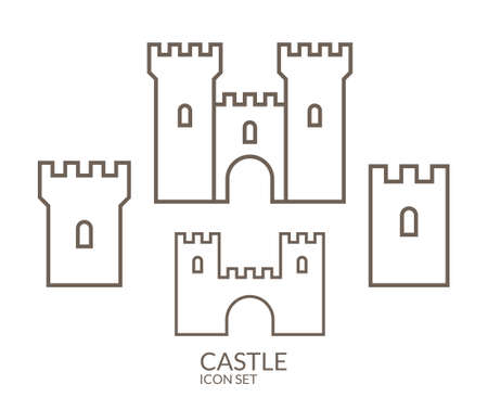 castle tower: Castle. Icon set. Outline