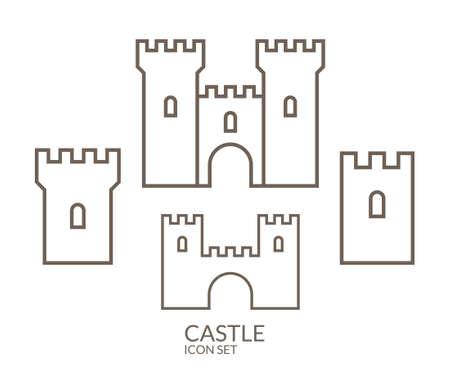 Castle. Icon set. Outline