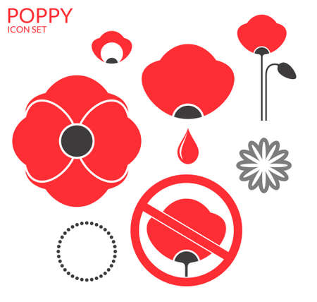 Poppy. Icon set