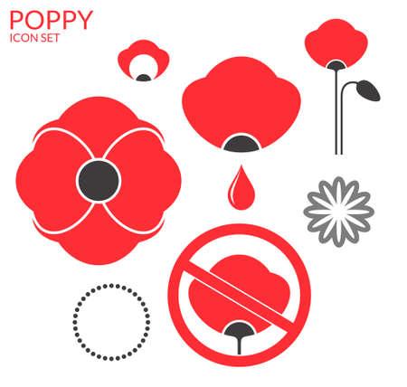 corn poppy: Poppy. Icon set