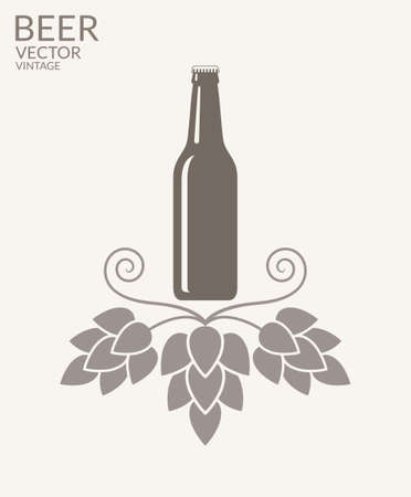 beer bottle: Beer. Vintage Illustration