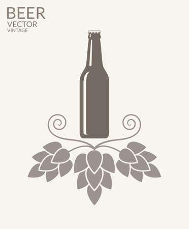 beer bottle: Beer. Vintage Illustration