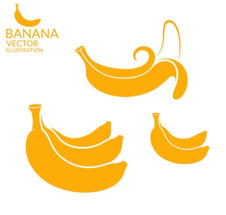banana peel: Banana. Set Illustration