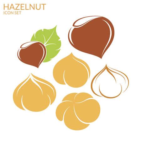 Hazelnut. Icon set