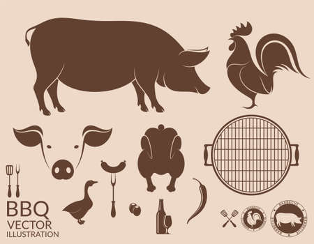 roosters: Barbecue grill. Pig. Chicken Illustration
