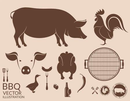 Barbecue grill. Pig. Chicken Çizim