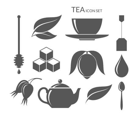 green tea leaf: Tea. Icon set