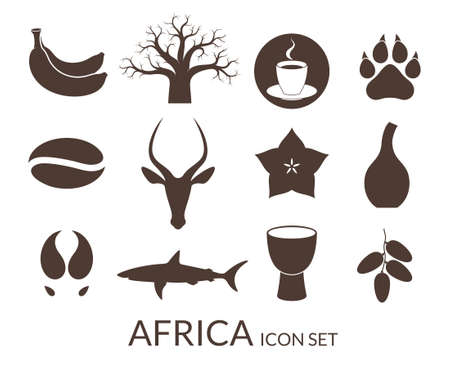 africa baobab tree: Africa. Icon set Illustration