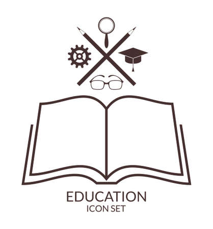 libro abierto: Educación. Icon Set Vectores