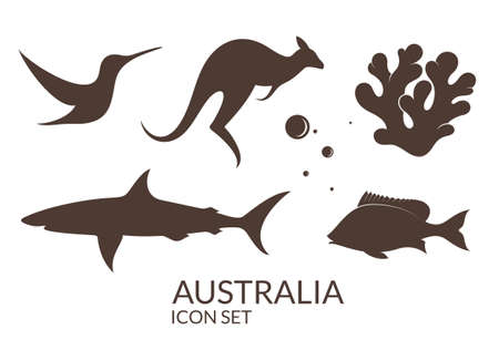 reef: Australia. Icon set Illustration
