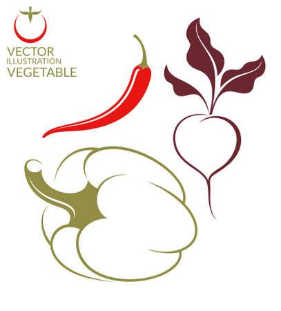bell tomato: Vegetable. Set Illustration