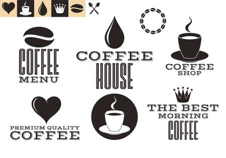 coffee beans: Coffee. Icons and labels