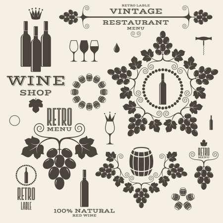 Wijn. Wijnoogst. Geïsoleerde labels en pictogrammen