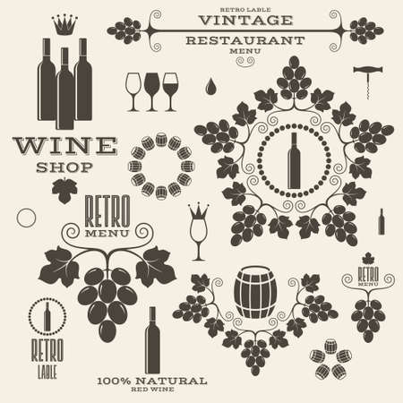 grapes on vine: Wine. Vintage. Isolated labels and icons Illustration