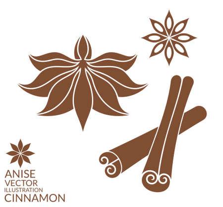 Cinnamon. Anise. Isolated on white background Illustration