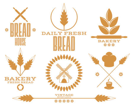 wheat isolated: Bakery. Bread. Wheat. Isolated labels on white background Illustration