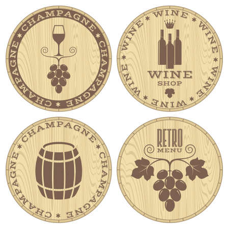 wine grapes: Champagne. Wine. Wood labels on white background