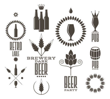 beer glass: Beer. Vintage. Isolated labels and icons