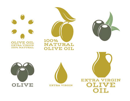 antioxidant: Olive oil. Isolated labels and icons