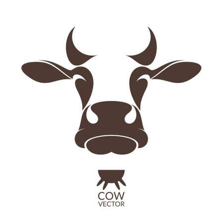 Koe. Dier geïsoleerd op witte achtergrond Stock Illustratie