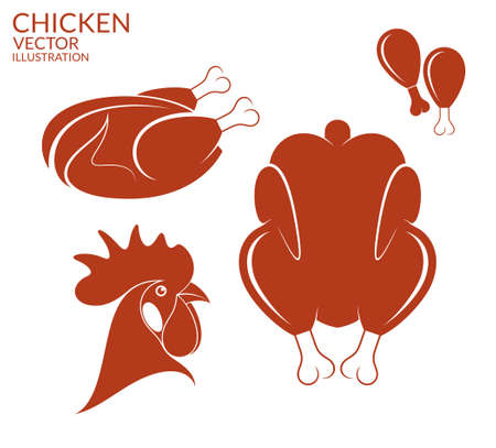 rooster: Roasted chicken. Isolated meat on white background Illustration