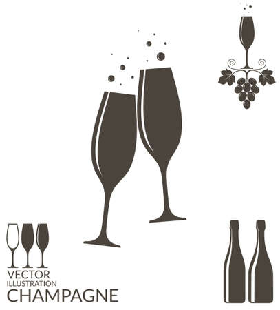 glass wine: Champagne. Isolated wineglasses and bottles Illustration