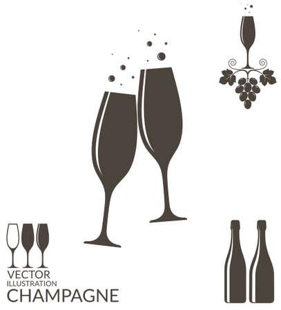 vidro: Champanhe. wineglasses isolados e garrafas Ilustração