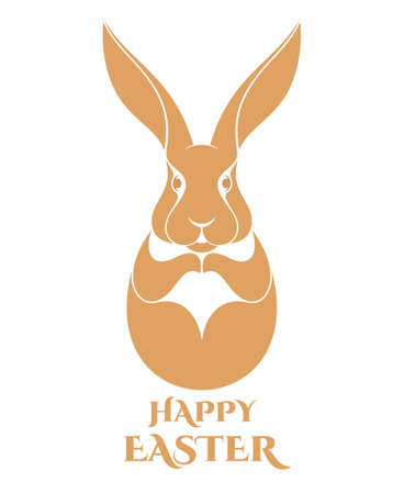 brown egg: Happy Easter. Hare