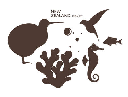 seahorse: New Zealand. Icon set Illustration