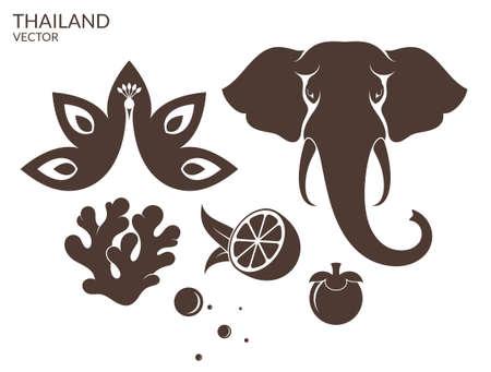 태국. 동물. 과일 일러스트